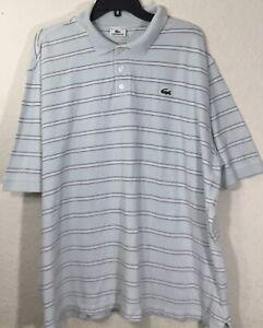 Lacoste-Men-039-s-Short-Sleeve-Light-Blue-Striped-Polo-Shirt-Size-46-2X-Rare