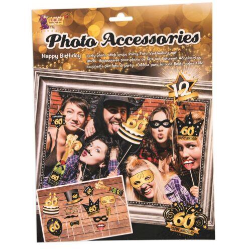 BN2517 Bristol Novelty 60th Birthday Photo Accessories 12 Piece Stick Prop Set