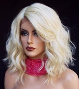 New Bob Lace Front Wig Short Platinum Blonde Wavy Lace Synthetic ... 1e3261468dac