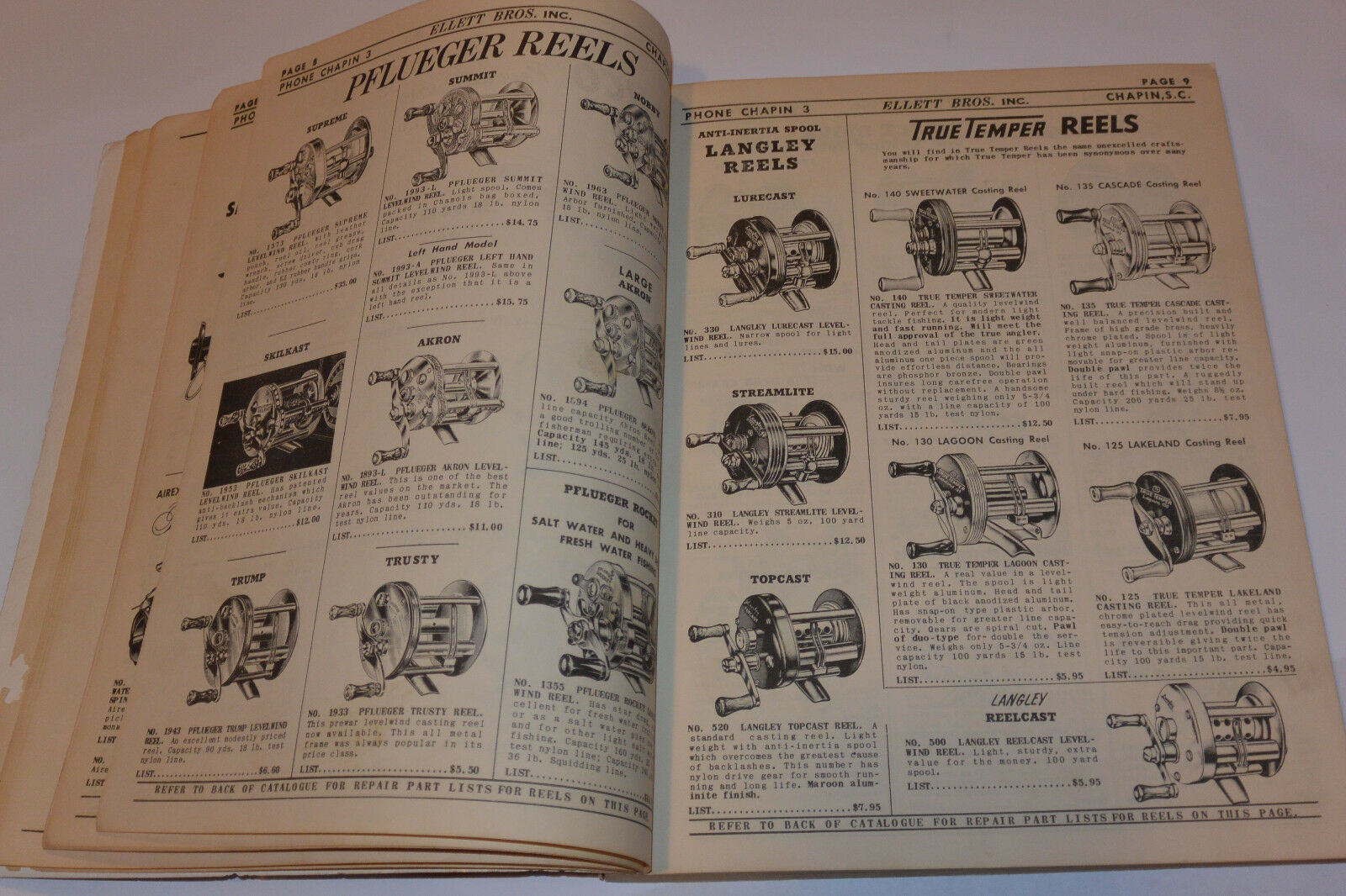 VINTAGE 1955 FISHING SUPPLIES DEALER CATALOG  RODSREELSLURESBOATSPFLUEGER