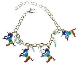 BRACELET-Unicorn-Horse-Pendant-Multi-Coloured-Charm-Bracelet-Party-Gift
