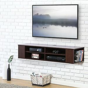 Image Is Loading Wood Tv Stand Floating Wall Mount Console Shelf