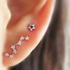 925-Sterling-Silver-CZ-Line-Big-Dipper-Blue-Polaris-Star-Climber-Stud-Earrings