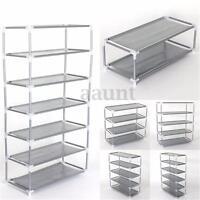 Metal Shoes Rack Stand Storage Organizer Fabric Shelf Holder Stackable Closet