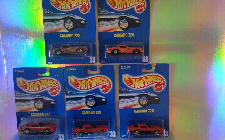 Lote de 5 Camaro Z28    33   Tarjeta Azul Hot Wheels  raros  muy difícil de encontrar  Coleccionable  nuevo   agradable BP