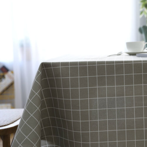 Lattice Print Cotton Linen Dining Table Cloth Cover Dust Proof Cloth Backdrop