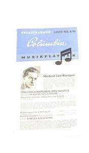 Kataloge Antiquitäten & Kunst k156 Columbia Musikplatten Katalog 4/52top Zustand