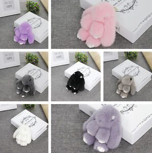 100% Real Bunny Rex Rabbit Fur Bag Keychain Car Phone Tag Charm Rabbit Doll Gift