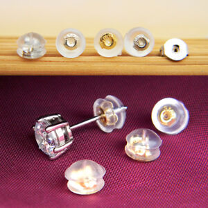 100Pcs Earrings Silicone Plug stud stoppers findings post back backs backing