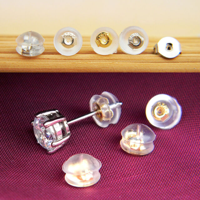 100Pcs Transparent Silicone Earring Stopper Posts Earring Findings Back Nuts