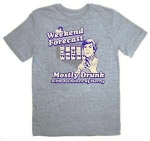 Adult-Heather-Gray-The-Hangover-Weekend-Forecast-Mostly-Drunk-Horny-T-shirt-Tee