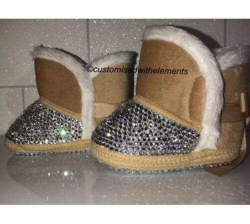 Baby Crystal Bling Sheepskin Boots Snowboots Newborn 0//6 months Gift