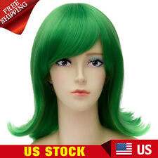 Women Straight Anime Costume Hair Inside Out Disgust Cosplay Green Full Wigs