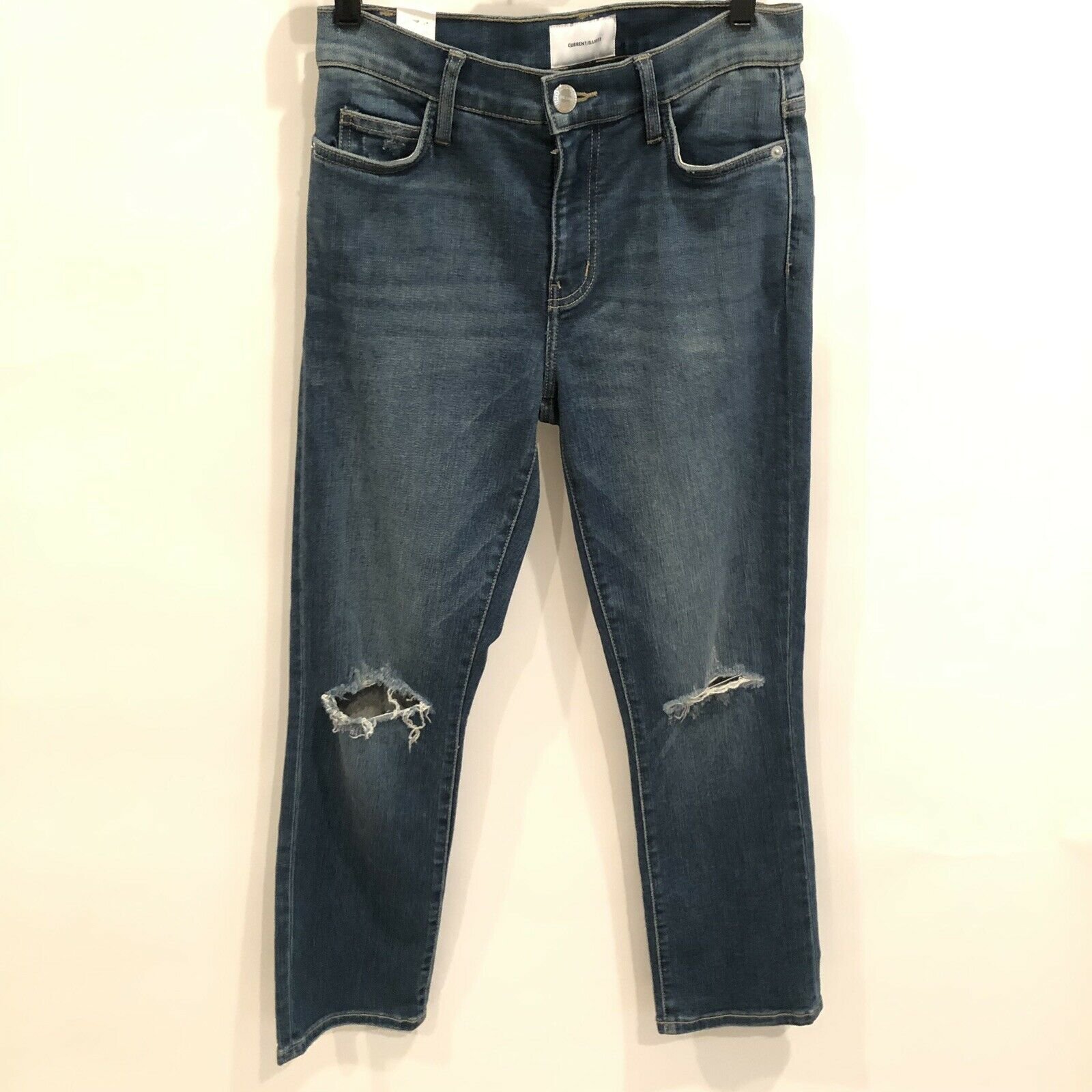 Current Elliot Distressed High Waist Straight Jeans Size 27 New  218
