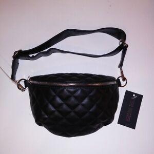 Steve-Madden-Fanny-Pack-Waist-Bag-Quilted-Black-Adjustable-Size-Purse-Womens