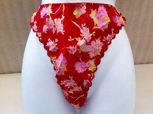Women-Panties-Thongs-034-Secret-Treasures-034-Size-6-Multicolor-On-Red-Satin-Floral