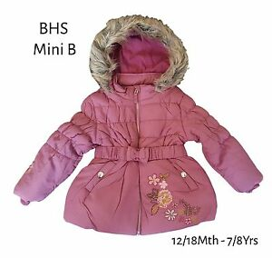 BHS Girls Coat Jacket Winter Baby Quilted Hooded Rain Warm School ...