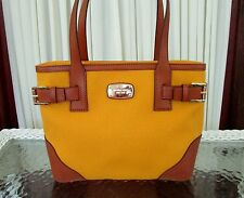 Michael Kors Millbrook Top Zip Medium Tote Canvas Leather Sun Yellow Handbag NWT