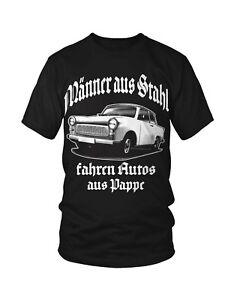 Trabi Fun T-Shirt DDR Zone Oldtimer zweitakt Sprüche Lustig Rennpappe Ossi Retro