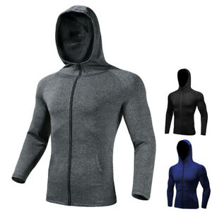 Men-039-s-Full-Zip-Up-Hoodie-Hooded-Sports-Activewear-Top-Tight-fit-Pockets-Dri-fit