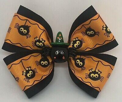 "Girls Hair Bow 4/"" Wide Mickey Minnie Halloween Spiderweb Flatback Frnch Barrette"