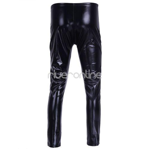 Herren Leggings Wetlook Lackleder Hose Eng Hosen Lang mit Reißverschluss Schwarz