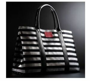 Victoria S Secret Paris Bombshell Black Silver Stripe Tote Bag