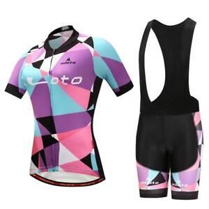 2020 Damen Radsport Set Lila Radtrikot Und Gepolsterte Tragerhose Shorts S 5xl Ebay