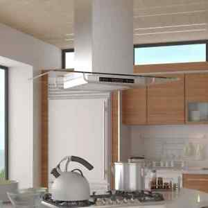 vidaXL Island Mount Range Hood with LCD Display Chimney Style Over Stove Vent