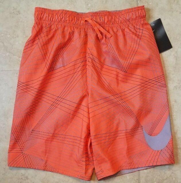 04c60c2c04 New Nike Boys Flywire Line Swoosh Breaker Swim Trunks Shorts w Brief Orange  XL