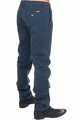 NEW $340 Gianfranco GF FERRE Blue Cotton Stretch Slim Fit Chinos Pants IT50 /W36