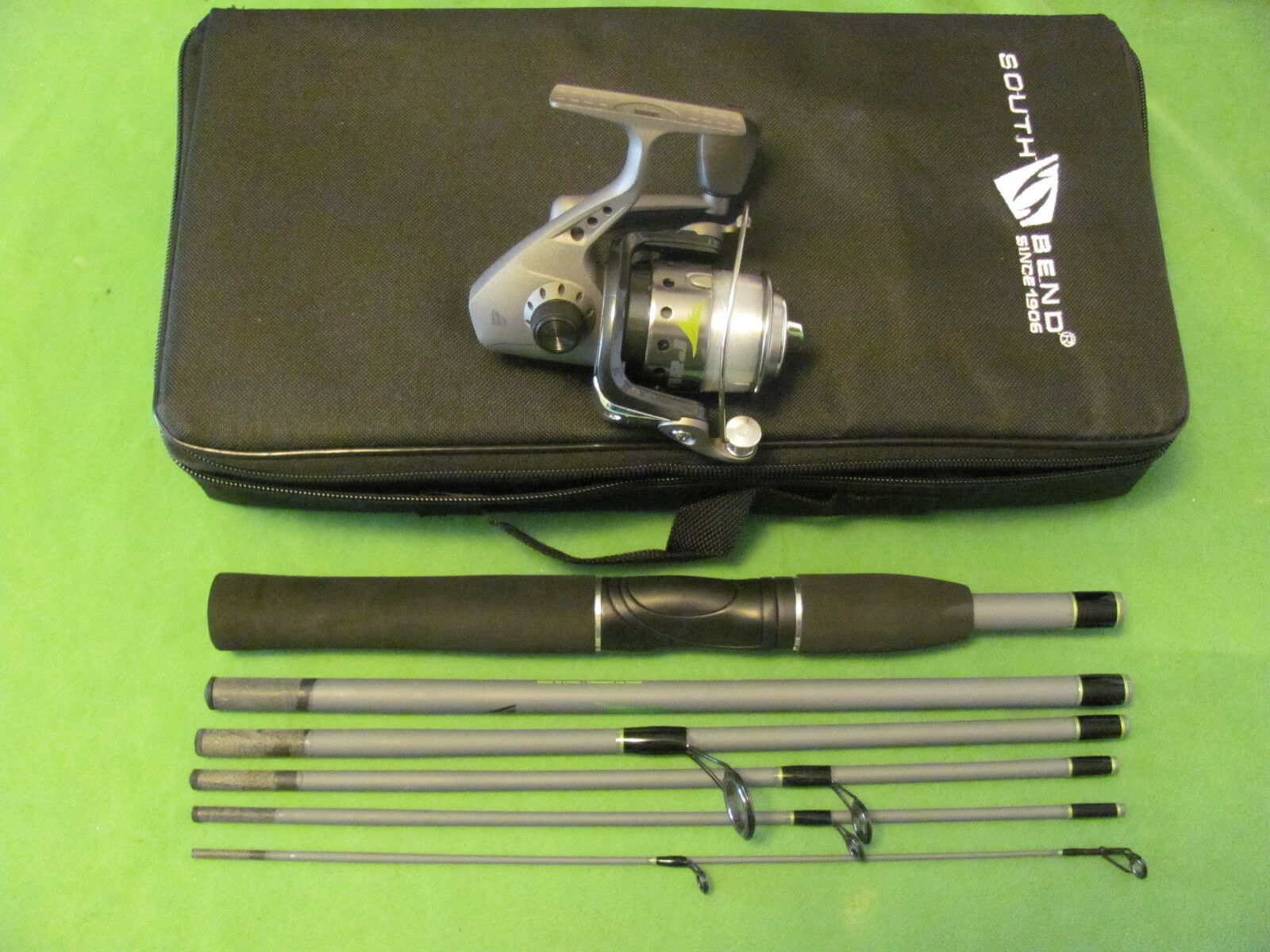 SOUTH BEND RAVEN 6' 0  6-PIECE MEDIUM ACTION SPINNING COMBO TRAVEL KIT NEW.