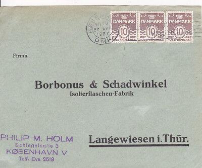 GroßZüGig Dk_372 233 3x Auf Bedarfsbriefstück Kopenhagen => Langenwiesen 1937