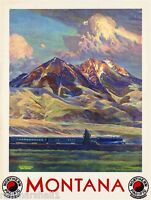 1930s Montana Northern Pacific Vintage Railroad Travel Advertisement Poster