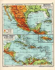Map Mexico Central America West Indies Physical Political Ebay