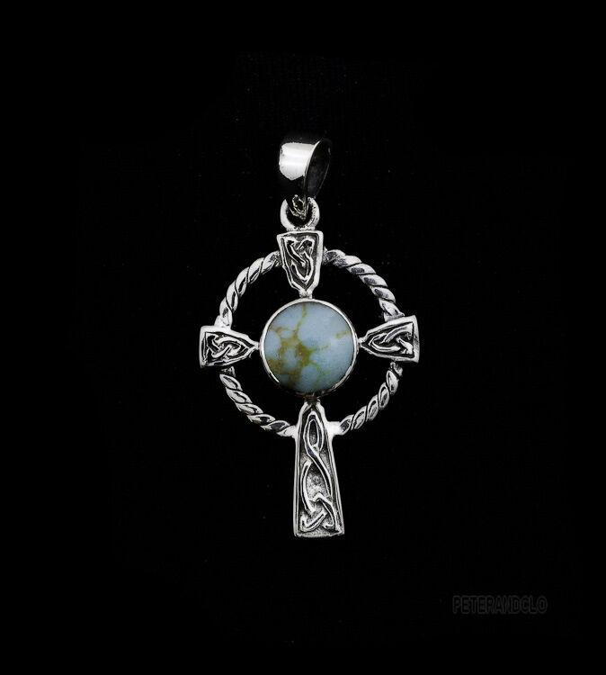 Pendentif Croix Celtique en silver et Turquoise 925 Peterandclo  K16B