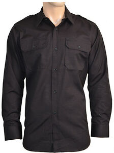 Black-Ripstop-Field-Shirt-Military-Cotton-Army-Tactical-All-Sizes-New