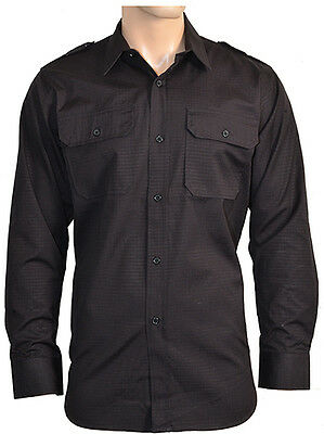 Military RIPSTOP FIELD SHIRT - All Sizes BLACK Cotton Army Tactical Top