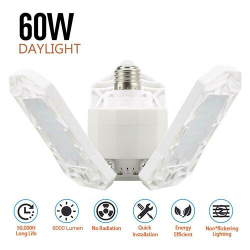 60W Triple Glow Deformable Garage Light Premium 6000 Lumens LED Light 60LED CA*
