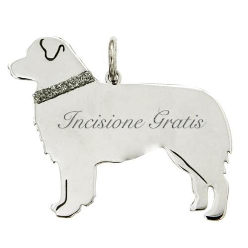 Ciondolo cane australian shepherd mm 25x15 argento 925 rodiato -incisione gratis
