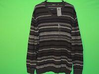 Claiborne Men's Size Xl Extra Large Black / Gray Striped Long Slv Sweatshirt