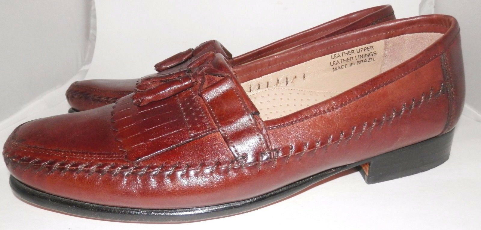 MEN'S Stacy Adams 9.5 M Brown Leather Loafers shoes Comfort Plus Tassels Brazil