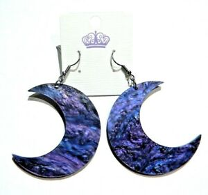 Blue Glittery Moon and Planchette Earrings