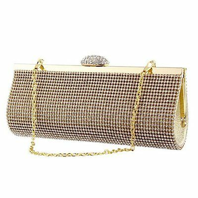 Gold Bling Diamante Diamante Crystal Evening bag Clutch Purse Party Bridal Prom
