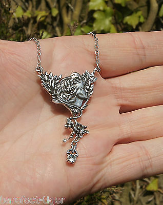 Garden Fairy Fine Silver Alloy and Crystal Necklace Pendant on Chain. Gift Boxed