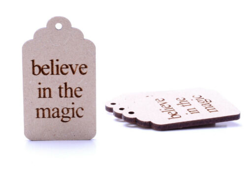 Wooden Believe in the Magic Luggage Gift Tags Christmas Eve Box Gift Tags