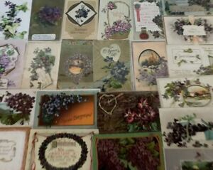 Lot-of-25-Pretty-Purple-Violets-Flowers-Vintage-Floral-Greetings-Postcards-b-12