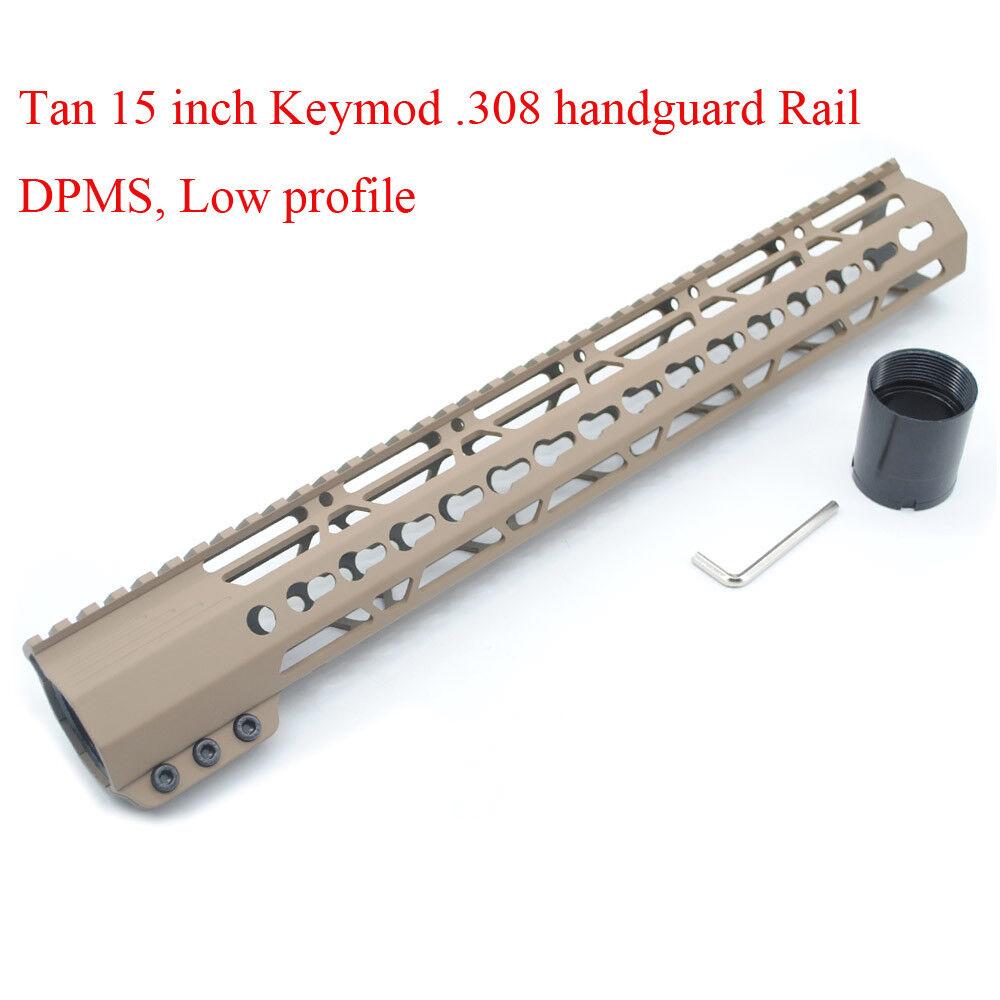Tan Painted 15'' inch Keymod Clamp LR-308 Handguard Rail Free Float Mount System