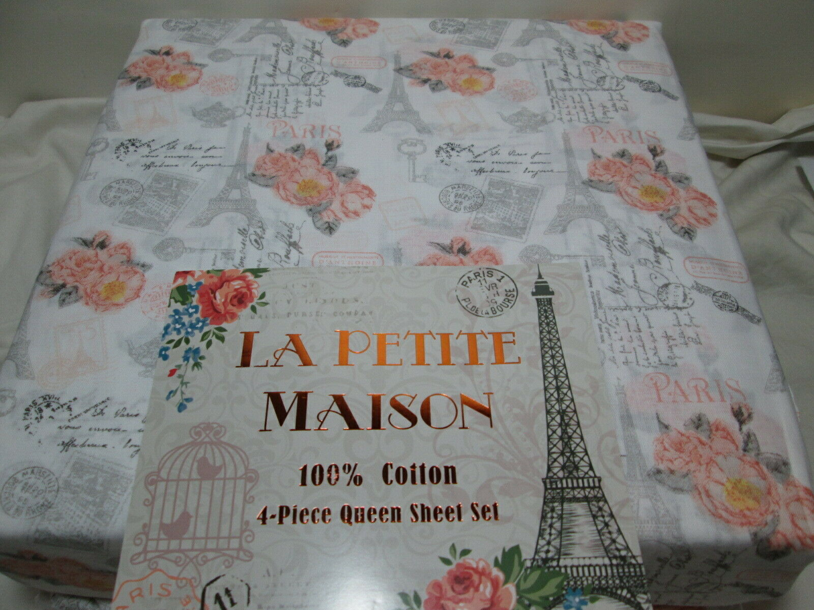 La Petite Maison Queen Sheet Set PARIS EIFFEL TOWER FRENCH SCRIPT  Peach Grey