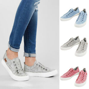 Womens-LADIES-Canvas-Hidden-Wedge-Flat-Heel-Sports-Platform-Pumps-Shoes-Trainer